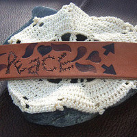 Bohemian Leather Cuff, Peace Bracelet, Hippie, Hand Stamped Leather, Direct Checkout