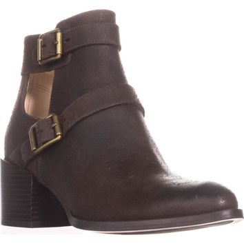 Nine West Evalee Buckle Ankle Boots, Dark Brown, 9 US
