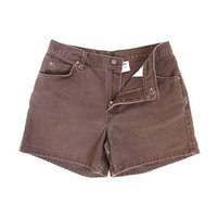Vintage Levis Shorts -- Brown Denim Shorts -- High Waisted Jean Shorts -- 80s Levis Made in USA -- Womens Size L / 32 inch waist