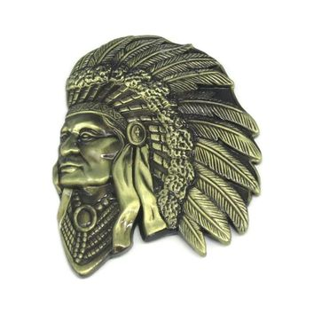 Bronze Indian Chief Head Native American Western Belt Buckle