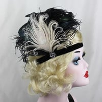 Great Gatsby, Feather Headband, White Peacock, Fascinator, Swarovski Crystals, Black, Hair Accessory, Bridesmaid