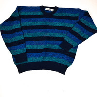 Green and Blue Striped Sweater for Men / St. John's Bay / Size XL