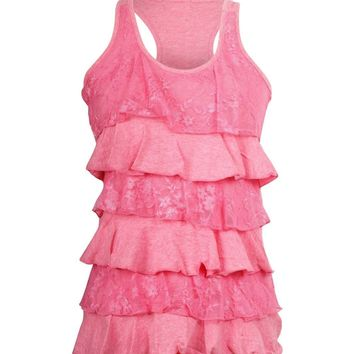 Lace & Solid Sleeveless Ruffle Tiered Cami Tank Top Racerback Blouse Tee Shirt