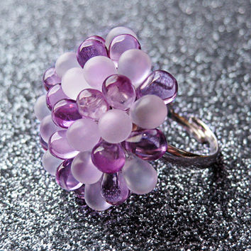 Lilac Bloom Berry Ring - Limited Edition Cluster Ring - Light Purple and Frosted Cocktail Glass Ring - White & Pastel Purple Statement Ring