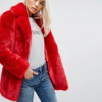 Jakke Mid Length Faux Fur Coat at asos.com