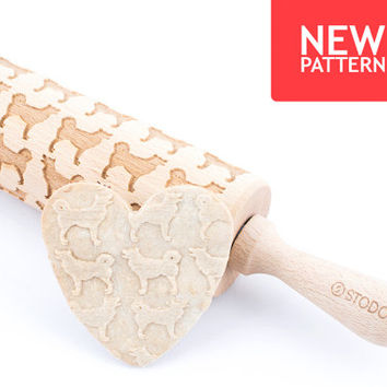 Alaskan malamute - Embossed, engraved rolling pin for cookies