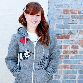Flying Panda Zipper Hoodie Sweater Salt and Pepper by steppie