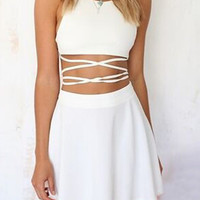 White Strappy Backless Cutout A-line Mini Skater Dress