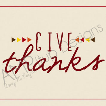 Give Thanks - Thanksgiving Decor - Instant Download - Geometric Triangles - Autumn colors