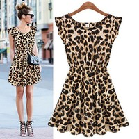 Sleeveless Pleated Thin Waist Leopard Print Dress