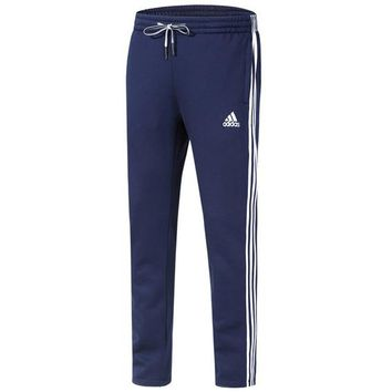 ADIDAS autumn and winter new closing and velvet knit casual trousers Blue