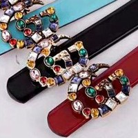 Gucci New Fashion Women Belt Multicolor Diamond Belt Multicolor Agate Colorful