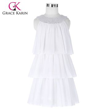 Brand New Long Flower Girl Dresses White Blue Party Pageant Communion Dress Little Girls Kids Children Cake Dress for Wedding