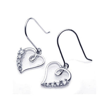 .925 Sterling Silver Rhodium Plated Open Heart Cubic Zirconia Dangling Hook Earring: SOD