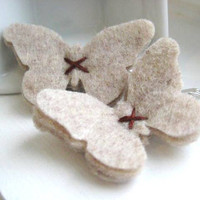 Natural Oatmeal Felt Butterfly Hair Clips  Snap Clip  by SweetPB