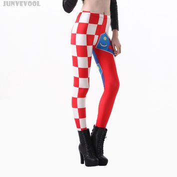 Leggings XXL Cute Women's Color Galaxy Print Trousers Stretchy Sexy Jeggings Pencil Pants Red White Grid Patchwork Flag Capris