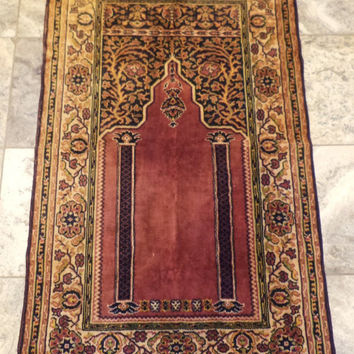 Persian Prayer Carpet Rug, Vintage Carpet or Wall Hanging