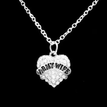 Crystal Army Wife Heart Valentine's Day Gift Soldier Wife Charm Necklace