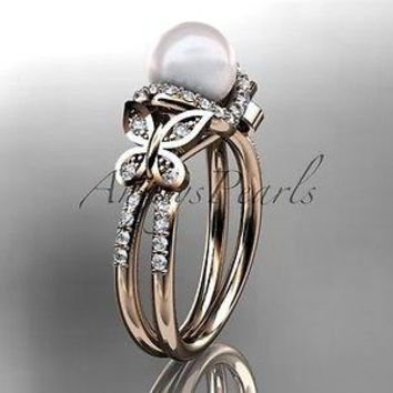 14k rose gold diamond pearl unique engagement ring,butterfly wedding ring AP141