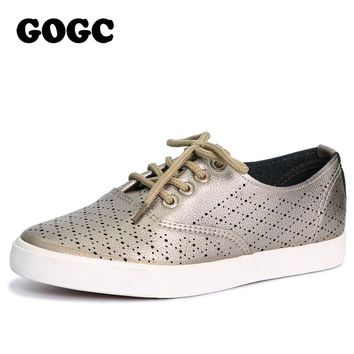 New GOGC 2018 Breathable Leather Women's Casual Shoes