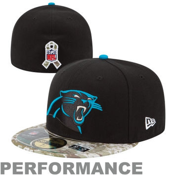 New Era Carolina Panthers Salute to Service On-Field 59FIFTY Fitted Hat – Black/Digital Camo