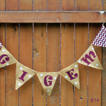 Gig 'Em Burlap Banner with chevron for Texas A&M University
