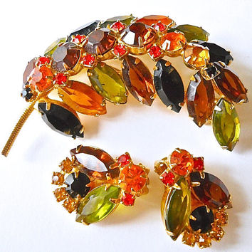 Juliana D&E Rhinestone Leaf Brooch Earrings Set, Harvest Colors, Vintage, green orange yellow