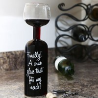 Wine Bottle Glass - Holds an Entire Bottle of Wine!