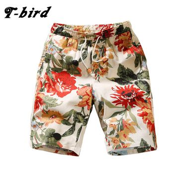 T-bird 2017 Newest Summer Casual Shorts Men Cotton Fashion Printing Style Mens Shorts Hawaii Beach Quick-drying Shorts M-4xl ZCM