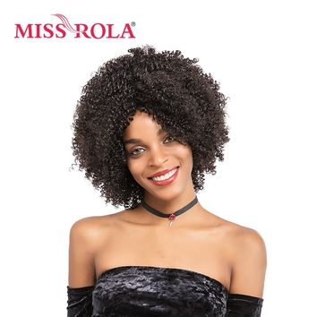 Miss Rola Synthetic Wigs For Black Women 10 Inch Short Curly Hair Wig Kanekalon Heat Resistant Can Be Customized 2# Color