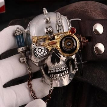 Steampunk Style Belt Buckle with Gothic Skull and Genuine Leather Belt
