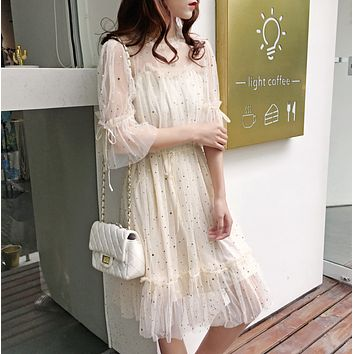 Fashion sweet dress female lace skirt chiffon mesh fairy skirt