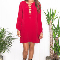 Red Crisscross eyelet Lace up neckline Shift Ladies Dress with Loose Long Sleeves