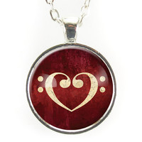F-Clef Heart Necklace, Music Note Jewelry, On Red