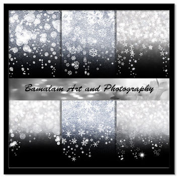 Silver and Black Glitter Backgrounds, Stars, Snowflakes, Bokeh Christmas Digital Paper, Xmas Scrapbook