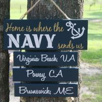 "SIX Duty Station ""Home is Where the Army, Navy, Marine Corps, Air Force, Coast Guard Sends Us"" Military family sign"
