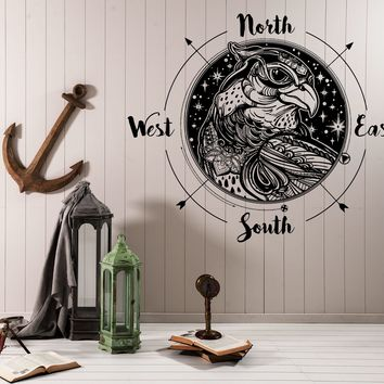 Large Vinyl Decal Wind Rose Compass Bird Prey Head West East North South (n987)