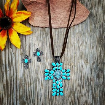 Turquoise Cross Leather Cord Necklace