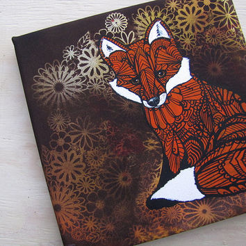 Fox Zentangle Canvas Art Print - 9 x 9 ""