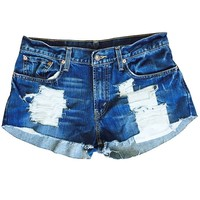 Women's Levi's Destroy Me Ripped Distressed Denim Low Rise Fray Shorts