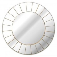 Champagne Stepped Round Wall Mirror