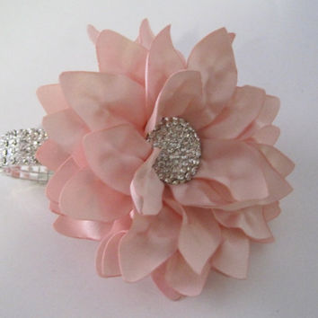 Corsage Stunning Blush Pink Satin Rhinestone Wrist Corsage Bracelet Bridesmaid Mother of the Bride Prom with Rhinestone Accent Custom Order