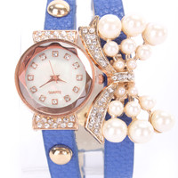 Royal Blue Faux Leather High Polish Metal Faux Pearl Bow Pendant Watch Bracelet
