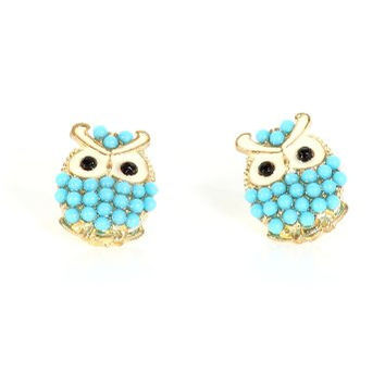 Owl Stud Earrings Crystal Vintage Gold Tone EF24 Blue Beaded Bird Pave Posts Fashion Jewelry