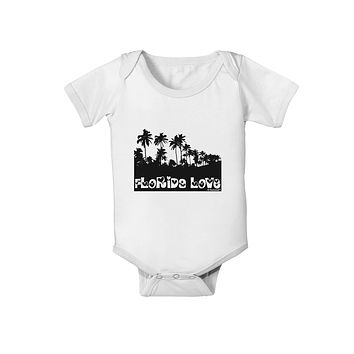 Florida Love - Palm Trees Cutout Design Baby Romper Bodysuit by TooLoud