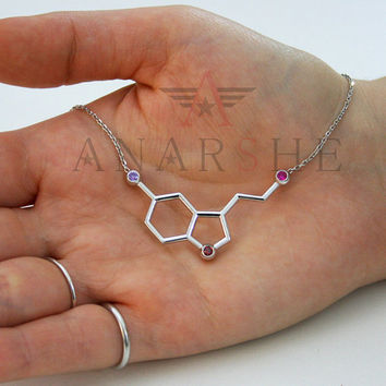 Serotonin necklace, birthstone serotonin necklace, necklace biochemistry, molecule pendant, birthstone necklace,birthday gift, christmas