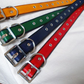 "Leather dog collar, 1"" wide, large dog collar, with eyelets, blue dog collar, red leather collar, green dog collar"