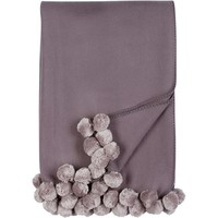 Luxxe Pom Pom Throw in Steel and Dove