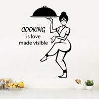 Wall Decor Vinyl Decal Sticker Woman Girl Chef Quote Cooking Is Love Made Visible Kitchen Cafe Bar Restaurant Living Room Home Interior Design Kg833