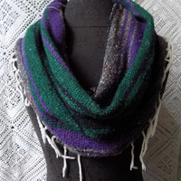Plum and Green Mexican Blanket Large Cowl Scarf With Fringe- Free Shipping to Continental US